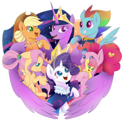 Size: 894x894 | Tagged: alicorn, applejack, artist:kumikoponylk, deviantart watermark, earth pony, end of ponies, female, fluttershy, li'l cheese, mane six, mother and child, obtrusive watermark, older, older applejack, older fluttershy, older mane 6, older pinkie pie, older rainbow dash, older rarity, older twilight, pegasus, pinkie pie, pony, princess twilight 2.0, rainbow dash, rarity, safe, simple background, spoiler:s09e26, the last problem, transparent background, twilight sparkle, twilight sparkle (alicorn), unicorn, watermark