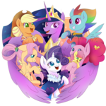 Size: 894x894 | Tagged: alicorn, applejack, artist:kumikoponylk, deviantart watermark, earth pony, end of ponies, female, fluttershy, li'l cheese, mane six, mother and child, obtrusive watermark, older, older applejack, older fluttershy, older mane 6, older pinkie pie, older rainbow dash, older rarity, older twilight, pegasus, pinkie pie, pony, princess twilight 2.0, rainbow dash, rarity, safe, simple background, spoiler:s09e26, transparent background, twilight sparkle, twilight sparkle (alicorn), unicorn, watermark