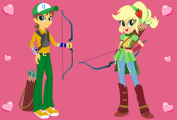 Size: 870x588 | Tagged: applejack, archery, artist:owletbrigthness, carajack, caramel, equestria girls, equestria girls-ified, female, friendship games, male, safe, shipping, straight
