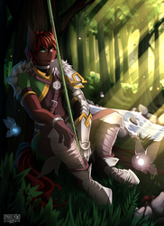 Size: 3500x4800 | Tagged: absurd resolution, anthro, anthro oc, armor, artist:sparklyon3, clothes, cosplay, costume, earth pony, fairy, forest, male, oc, oc only, pony, safe, solo, spear, stallion, tree, weapon