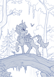 Size: 1680x2370 | Tagged: artist:yakovlev-vad, autumn blaze, butterfly, forest, kirin, saddle bag, safe, sketch, smiling, solo, tree