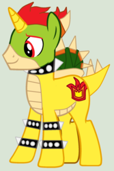 Size: 1108x1660 | Tagged: safe, artist:pegasski, artist:twidashfan1234, pony, unicorn, base used, bowser, crossover, green background, koopa shell, nintendo, ponified, shell, simple background, super mario bros.