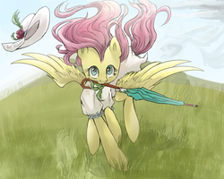 Size: 1000x800 | Tagged: safe, artist:ce2438, fluttershy, pegasus, pony, clothes, cute, dress, female, grass, hat, hat off, looking at you, mare, midair, mouth hold, outdoors, scenery, shyabetes, solo, spread wings, sun hat, sundress, umbrella, windswept mane, wings