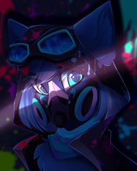 Size: 2585x3225 | Tagged: safe, alternate version, artist:airiniblock, oc, oc only, oc:vivid tone, pegasus, pony, clothes, commission, gas mask, goggles, hoodie, looking at you, mask, solo