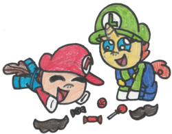 Size: 1294x1017 | Tagged: safe, artist:drquack64, pound cake, pumpkin cake, cake twins, clothes, cosplay, costume, crossover, luigi, mario, siblings, simple background, super mario bros., traditional art, transparent background, twins
