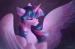 Size: 1700x1100 | Tagged: safe, artist:fenwaru, twilight sparkle, alicorn, pony, eyes closed, female, horn, mare, signature, simple background, smiling, solo, spread wings, twilight sparkle (alicorn), wings