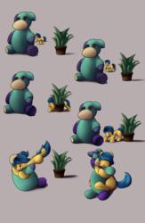 Size: 2600x4000 | Tagged: safe, artist:einboph, oc, oc:soft step, pony, plant, practice, sneak attack, snuggling, teddy bear