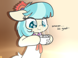 Size: 2048x1536 | Tagged: safe, artist:kimjoman, coco pommel, earth pony, pony, chocolate, clothes, cocobetes, cute, drink, female, flower, flower in hair, food, gradient background, hoof hold, hot chocolate, mare, marshmallow, solo, text