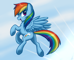 Size: 1600x1300 | Tagged: safe, artist:hellaoggi, artist:maccoffee, rainbow dash, pegasus, pony, crepuscular rays, female, flying, happy, mare, open mouth, profile, solo, starry eyes, wingding eyes