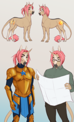 Size: 3028x4932 | Tagged: absurd resolution, anthro, anthro oc, armor, artist:askbubblelee, bodysuit, brothers, clothes, combat armor, combat bodysuit, duo, glasses, guard, guardsman, leonine tail, male, oc, oc:jasper quartz, oc only, oc:sunstone quartz, pants, pony, royal guard, safe, shirt, siblings, smiling, stallion, twin brothers, twins, unguligrade anthro, unicorn