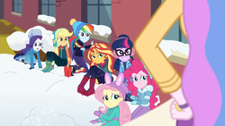 Size: 1920x1080 | Tagged: safe, screencap, applejack, fluttershy, pinkie pie, princess celestia, rainbow dash, rarity, sci-twi, sunset shimmer, twilight sparkle, equestria girls, equestria girls series, holidays unwrapped, spoiler:eqg series (season 2), blizzard or bust, boots, canterlot high, caught, celestia is not amused, clothes, coat, earmuffs, fake snow, female, fluttershy's winter hat, grin, hand on hip, hat, humane five, humane seven, humane six, imminent detention, jacket, mittens, nervous, nervous grin, oh crap face, outdoors, principal celestia, rarity's winter hat, shoes, smiling, this will end in detention, toque, unamused, winter coat, winter hat, winter jacket, winter outfit