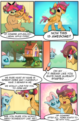 Size: 1800x2740 | Tagged: safe, artist:candyclumsy, artist:multi-commer, apple bloom, ocellus, scootaloo, yona, oc, oc:apple cider, oc:speedy cider, changeling, hybrid, original species, pegasus, pony, yak, yakony, comic:the great big fusion 3, apple, apple tree, clubhouse, comic, crusaders clubhouse, cutie mark crusaders, dialogue, fusion, fusion:apple cider, fusion:speedy cider, merge, nervous, potion, shy, tree, treehouse