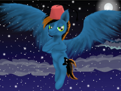 Size: 1600x1200 | Tagged: artist:auroraswirls, fez, flying, full moon, grin, hat, male, moon, night, oc, oc only, safe, smiling, solo, spread wings, stallion, stars, wings