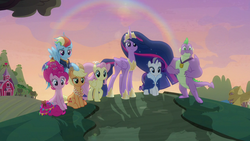 Size: 1280x720 | Tagged: alicorn, applejack, dragon, earth pony, fluttershy, mane seven, mane six, older, older applejack, older fluttershy, older mane 6, older mane 7, older pinkie pie, older rainbow dash, older rarity, older spike, older twilight, pegasus, pinkie pie, pony, princess twilight 2.0, rainbow dash, rarity, safe, screencap, spike, spoiler:s09e26, the last problem, twilight sparkle, twilight sparkle (alicorn), unicorn, winged spike
