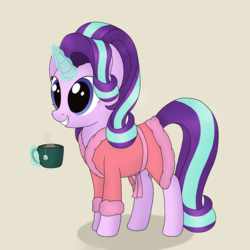 Size: 1250x1250 | Tagged: artist:noosa, cute, dressing gown, female, food, glimmerbetes, glowing horn, happy, horn, magic, mare, mug, pony, safe, smiling, solo, starlight glimmer, tea, telekinesis, unicorn