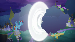 Size: 1920x1080 | Tagged: cloud, merry may, pony, rainbow dash, safe, screencap, spoiler:s09e17, sunshower raindrops, the summer sun setback