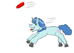 Size: 1400x1000 | Tagged: artist:horsesplease, behaving like a dog, doggie favor, frisbee, hengstwolf, labradoodle, panting, party favor, running, safe, tongue out, unicorn, werewolf