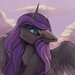 Size: 1600x1580 | Tagged: safe, artist:ritter, oc, oc only, oc:nyx, alicorn, pony, beautiful, blushing, chest fluff, ear fluff, feather, female, nightmare eyes, older, sky, solo, spread wings, wings