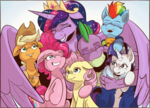 Size: 1773x1275 | Tagged: alicorn, applejack, artist:saturdaymorningproj, dragon, earth pony, end of ponies, fluttershy, group hug, hug, mane seven, mane six, older, older applejack, older fluttershy, older mane 6, older mane 7, older pinkie pie, older rainbow dash, older rarity, older spike, older twilight, pegasus, pinkie pie, pony, princess twilight 2.0, rainbow dash, rarity, safe, skunk stripe, spike, spoiler:s09e26, the last problem, twilight sparkle, twilight sparkle (alicorn), unicorn