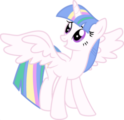 Size: 1920x1870 | Tagged: safe, artist:kamyk962, edit, vector edit, princess celestia, twilight sparkle, alicorn, pony, ponyar fusion, fusion, recolor, simple background, solo, transparent background, twilight sparkle (alicorn), vector