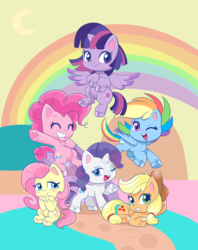 Size: 1428x1804 | Tagged: safe, artist:mofumofutchi, applejack, fluttershy, pinkie pie, rainbow dash, rarity, twilight sparkle, alicorn, earth pony, pegasus, pony, unicorn, my little pony: pony life, applejack's hat, blushing, chibi, colored hooves, cowboy hat, cutie mark, female, flying, hat, looking at you, mane six, mare, one eye closed, rainbow, smiling, twilight sparkle (alicorn), unshorn fetlocks, wink