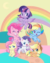 Size: 1428x1804 | Tagged: safe, artist:mofumofutchi, applejack, fluttershy, pinkie pie, rainbow dash, rarity, twilight sparkle, alicorn, earth pony, pegasus, pony, unicorn, my little pony: pony life, pony life, applejack's hat, blushing, chibi, colored hooves, cowboy hat, cute, cutie mark, dashabetes, diapinkes, female, flying, hat, jackabetes, looking at you, mane six, mare, one eye closed, rainbow, raribetes, shyabetes, smiling, twiabetes, twilight sparkle (alicorn), unshorn fetlocks, wink