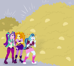 Size: 1800x1596 | Tagged: safe, artist:necrofeline, adagio dazzle, aria blaze, sonata dusk, human, equestria girls, blushing, floating heart, food, gray background, heart, heart eyes, simple background, sonataco, taco, that girl sure loves tacos, the dazzlings, this will end in weight gain, tongue out, weight gain sequence, wingding eyes