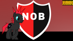Size: 1366x768 | Tagged: argentina, artist:jojodidu, earth pony, emblem, football, newell's old boys, oc, oc only, ponified, pony, safe, solo, sports