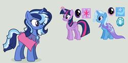 Size: 2268x1112   Tagged: safe, artist:lolbit-tv, trixie, twilight sparkle, oc, alicorn, pony, female, lesbian, magical lesbian spawn, offspring, parent:trixie, parent:twilight sparkle, parents:twixie, shipping, twilight sparkle (alicorn), twixie