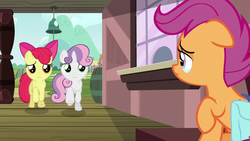 Size: 1280x720 | Tagged: apple bloom, cutie mark crusaders, safe, scootaloo, screencap, spoiler:s09e12, sweetie belle, the last crusade