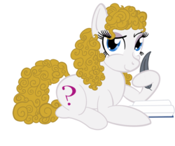 Size: 1000x834 | Tagged: artist:sixes&sevens, book, doctor who, earth pony, eyeshadow, female, lying down, makeup, ponified, pony, quill, river song, safe, simple background, transparent background