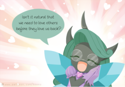 Size: 1000x697 | Tagged: anthro, artist:howxu, changeling, changeling queen, clothes, comic, cropped, curved horn, cute, cutealis, daaaaaaaaaaaw, dialogue, dork, dorkalis, edit, eyes closed, female, glasses, heart, hnnng, horn, howxu is trying to murder us, open mouth, queen chrysalis, question mark, reversalis, safe, smiling, solo, speech bubble, spoiler:comic