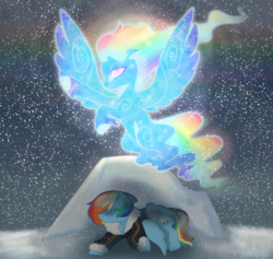 Size: 1900x1800 | Tagged: artist:unoriginai, ascension, aurora borealis, aurora dash, dead, ghost, miss pie's monsters, rainbow dash, reformed, reformed windigo, sad, safe, snow, snowfall, soul, species swap, spirit, story included, transformation, windigo