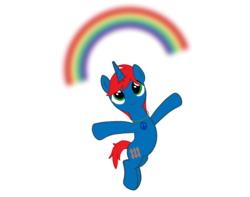 Size: 1600x1258 | Tagged: safe, artist:ry-bluepony1, oc, oc only, oc:train track, pony, unicorn, base used, hippie, imagination, jewelry, male, necklace, nobody cares, peace symbol, rainbow, simple background, solo, unicorn oc, white background