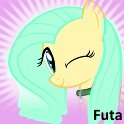 Size: 531x530 | Tagged: collar, derpibooru, edit, futa, futa oc, intersex, meta, not fluttershy, oc, oc:emileeshy, one eye closed, pegasus, pony, recolor, safe, solo, spoilered image joke, text, wink