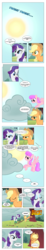 Size: 868x4697 | Tagged: a dog and pony show, angry, annoyed, applejack, artist:dziadek1990, bucking, cloud, comic, comic:sunny day, conversation, dialogue, edit, edited screencap, look before you sleep, out of character, raincloud, rarity, safe, screencap, screencap comic, slice of life, sun, text, tree