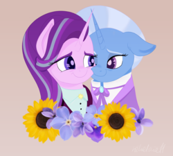 Size: 5000x4500 | Tagged: safe, artist:wikatoria71, starlight glimmer, trixie, pony, unicorn, the last problem, spoiler:s09e26, bust, clothes, female, flower, hyacinth, jewelry, lesbian, looking at each other, mare, older, older starlight glimmer, older trixie, one eye closed, shipping, smiling, startrix, suit, sunflower