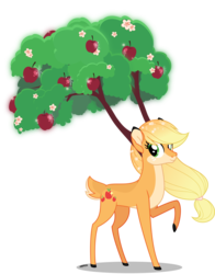 Size: 4000x5115 | Tagged: apple, applejack, artist:orin331, branches for antlers, female, food, going to seed, raised hoof, safe, solo, species swap, spoiler:s09e10, the great seedling