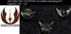 Size: 953x463 | Tagged: safe, comparison, craft, custom, emblem, irl, jedi order, jewelry, lunar republic, photo, pin, solar empire, star wars, toy