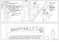 Size: 3608x2622 | Tagged: safe, artist:davierocket, queen chrysalis, oc, changeling, changeling queen, ..., :c, adoptable, banner, bits, c:, comic, cute, cuteling, dialogue, drone, fangs, female, frown, glare, glasses, jar, lidded eyes, lineart, looking at you, open mouth, paper, sign, simple background, smiling, smirk, text, white background, wide eyes