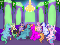 Size: 1035x776 | Tagged: safe, artist:piccolavolpe, captain celaeno, princess cadance, princess flurry heart, shining armor, twilight sparkle, oc, oc:azure glide, oc:iron wingheart, oc:quasar(wingman), alicorn, bird, hybrid, parrot, pegasus, pony, unicorn, my little pony: the movie, the last problem, azurlaeno, canon x oc, cheering, clapping, commission, dining room, dining table, engagement, engagement ring, family, female, forehead touch, gay, horn, horn ring, interspecies offspring, love, male, mare, marriage proposal, mother and father, oc x oc, offspring, older, older flurry heart, parent:captain celaeno, parent:oc:azure glide, parents:azurlaeno, parents:canon x oc, princess twilight 2.0, shipping, smiling, stallion, twilight sparkle (alicorn)