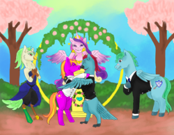 Size: 1004x780 | Tagged: safe, artist:piccolavolpe, captain celaeno, princess cadance, oc, oc:azure glide, oc:iron wingheart, oc:quasar(wingman), alicorn, bird, hybrid, parrot, pegasus, pony, unicorn, my little pony: the movie, altar, azurlaeno, blossom trees, canon x oc, clothes, commission, dress, eyes closed, female, garden, gay, gay wedding, hedge, horn, horn ring, hug, interspecies offspring, kissing, love, male, marriage, oc x oc, offspring, outdoors, parent:captain celaeno, parent:oc:azure glide, parents:azurlaeno, parents:canon x oc, podium, princess of love, ring, shipping, smiling, stallion, suit, tree, wedding, wedding ring, winghug