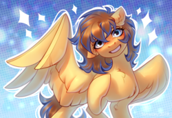Size: 1280x873 | Tagged: safe, artist:fenwaru, oc, oc only, pegasus, pony, abstract background, blushing, chest fluff, ear fluff, female, floppy ears, hoof on chest, leg fluff, looking at you, mare, outline, smiling, solo, spread wings, wings