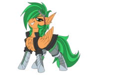 Size: 1920x1200 | Tagged: safe, artist:brainiac, derpibooru exclusive, oc, oc:atom smasher, cyborg, pegasus, pony, 2020 community collab, derpibooru community collaboration, fallout equestria, fallout equestria: duck and cover, the sunjackers, fanfic art, female, mare, simple background, solo, transparent background