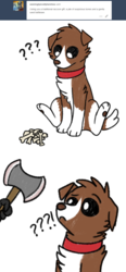 Size: 800x1729 | Tagged: safe, artist:askwinonadog, winona, dog, ask winona, ask, axe, battle axe, bone, comic, confused, cute, exclamation point, interrobang, offscreen character, question mark, simple background, solo focus, tumblr, weapon, white background, winonabetes