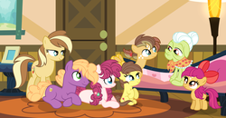 Size: 4461x2325 | Tagged: safe, artist:velveagicsentryyt, granny smith, little mac (character), oc, oc:apple denki, oc:apple flower, oc:apple pie, oc:appleseed, oc:applie, earth pony, pony, base used, colt, female, filly, male, mare, offspring, older, parent:apple bloom, parent:applejack, parent:big macintosh, parent:caramel, parent:sugar belle, parent:tender taps, parents:carajack, parents:sugarmac, parents:tenderbloom