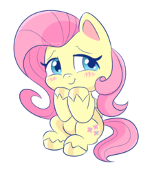 Size: 487x543 | Tagged: safe, artist:mofumofutchi, fluttershy, pegasus, pony, my little pony: pony life, pony life, blushing, chibi, colored hooves, cute, cutie mark, female, hnnng, looking at you, mare, one eye closed, shyabetes, simple background, smiling, solo, transparent background, unshorn fetlocks, wink