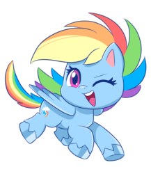 Size: 550x634 | Tagged: safe, artist:mofumofutchi, rainbow dash, pegasus, pony, my little pony: pony life, pony life, chibi, colored hooves, cute, cutie mark, dashabetes, female, looking at you, mare, one eye closed, open mouth, simple background, smiling, transparent background, unshorn fetlocks, wink