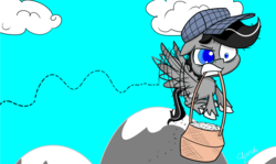 Size: 2067x1229 | Tagged: artist:chopsticks, basket, chest fluff, flapping, flying, food, gritted teeth, hat, hoof fluff, male, mountain, my little pony: pony life, oc, oc:chopsticks, oc only, pegasus, rice, safe, straining, style emulation