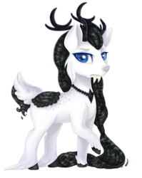 Size: 756x952 | Tagged: safe, artist:shady-bush, oc, oc:shattered memories, deer, deer pony, original species, pond pony, chibi, fangs, male, simple background, solo, transparent background